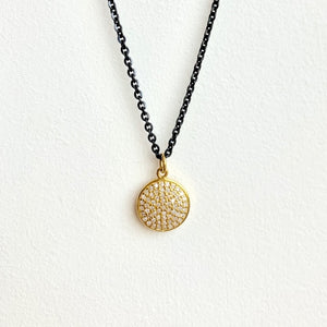 Blackened Sterling Silver Chain with 14kt Gold .20ct Diamond Enhancer