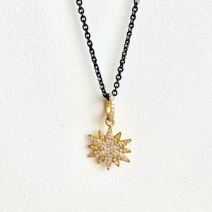 Blackened Sterling Silver Chain with 14kt Gold Star Diamond Enhancer