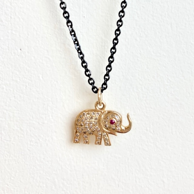 Blackened Sterling Silver Chain with 14kt Gold Elephant .26ct Diamond Enhancer