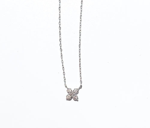 Diamond Flower White Gold Necklace