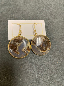 Montana Agate Round Earrings Gold
