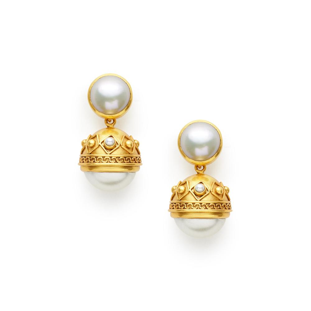 Medici Statement Earring Gold Shell Pearl-Julie Vos-Anna Cate Fine Fashion Jewelry