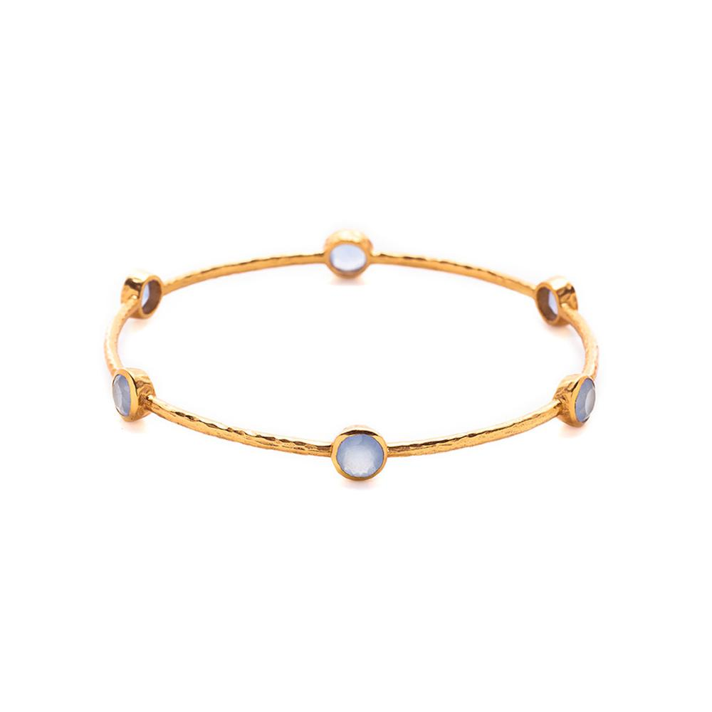 Milano Bangle Gold Chalcedony Blue Medium-Julie Vos-Anna Cate Fine Fashion Jewelry