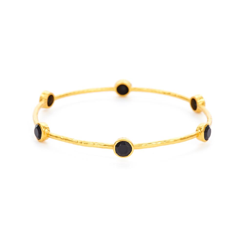 Milano Bangle Gold Black Onyx Medium-Julie Vos-Anna Cate Fine Fashion Jewelry