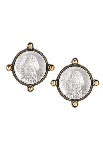 Oreille silver Louise medallion earrings