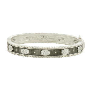 Oval Eternity Pave Hinged Bangle