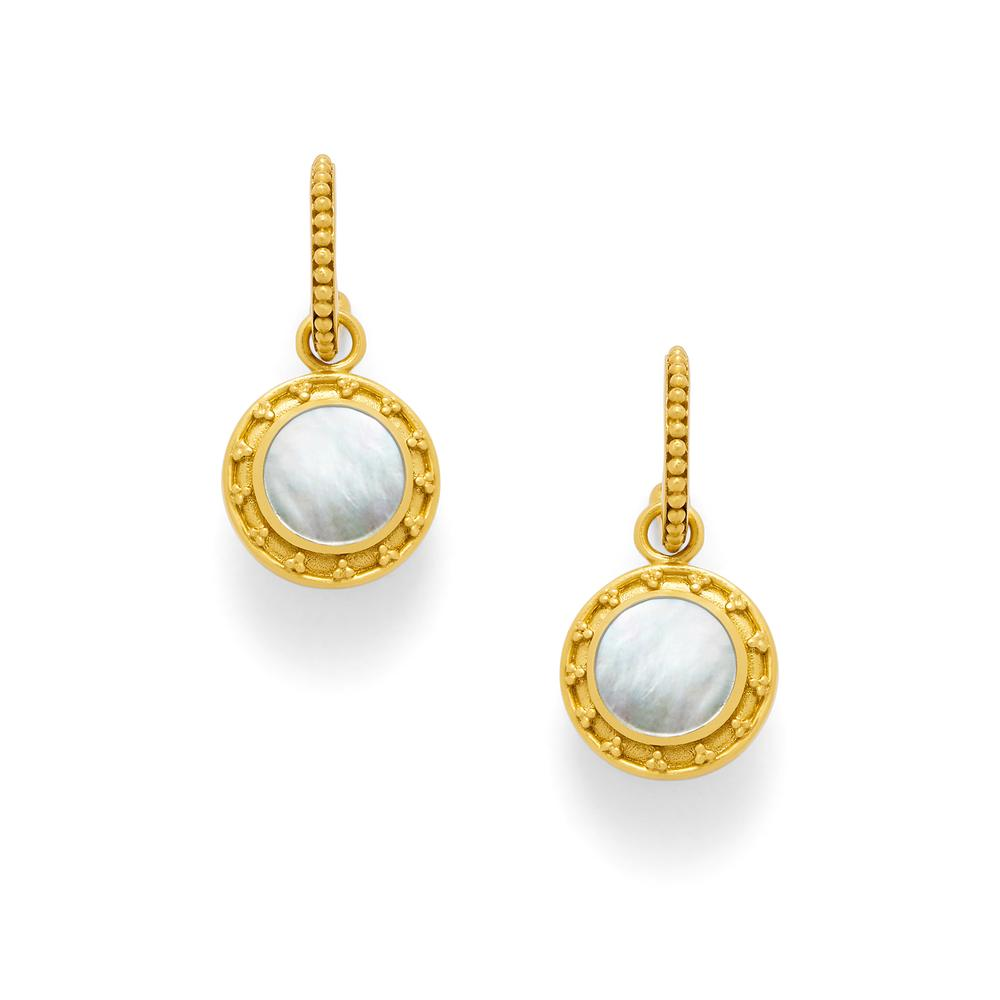 Sofia Earring Gold Mother of Pearl with Pearlaccent on reverse