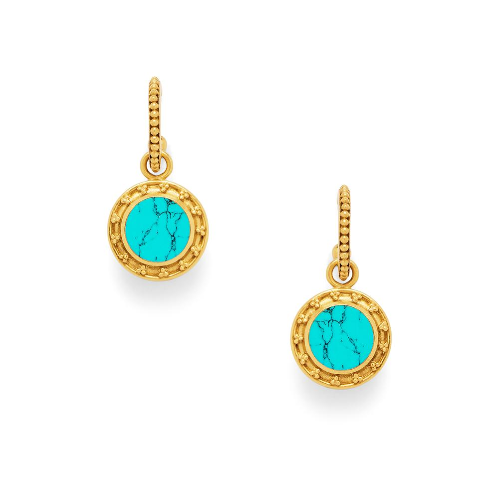 Sofia Earring Gold Flat Turquoise Blue withPearl accent on reverse