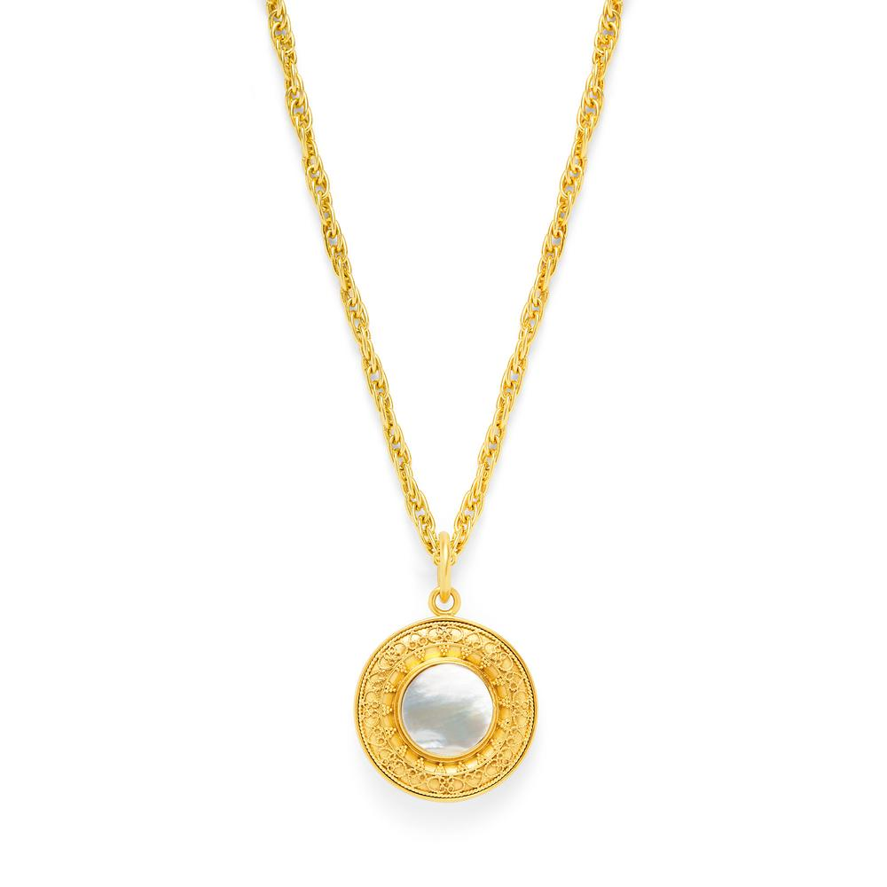 Sofia Pendant Gold Flat Mother of Pearl withSmall Fresh Water Pearl on Reverse Side