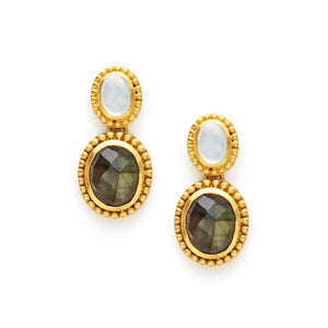 Siena Two Stone Earring Gold Flat Mother ofPearl top and Labradorite bottom-Julie Vos-Anna Cate Fine Fashion Jewelry