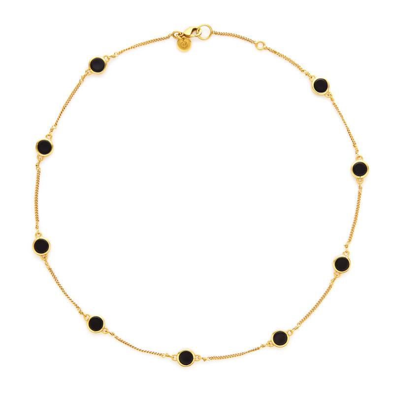 Valencia Delicate Station Necklace Gold BlackOnyx-Julie Vos-Anna Cate Fine Fashion Jewelry