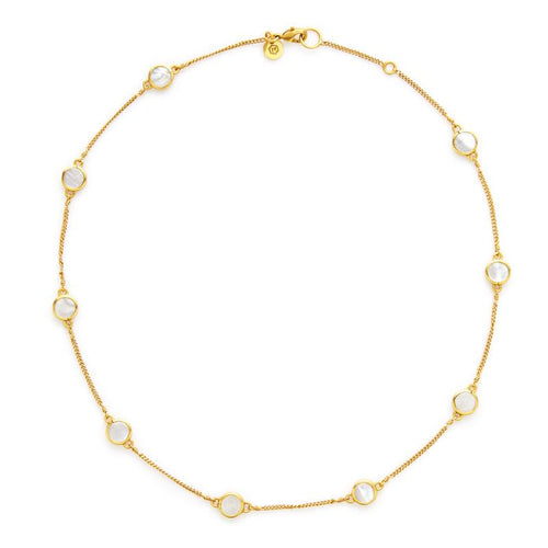 Valencia Delicate Station Necklace Gold Motherof Pearl-Julie Vos-Anna Cate Fine Fashion Jewelry