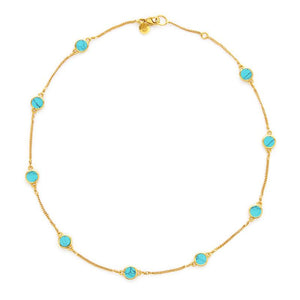 Valencia Delicate Station Necklace GoldTurquoise Blue-Julie Vos-Anna Cate Fine Fashion Jewelry