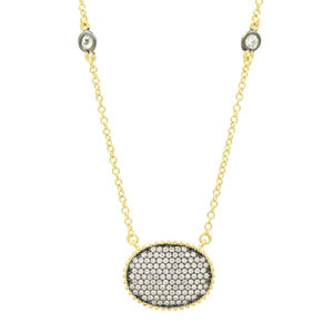 Signature Pave Oval Disc Pendant