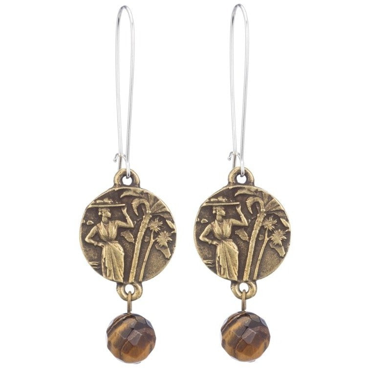 Faceted Tiger's Eye Dangle Earrings with Mini Colombie Medallion