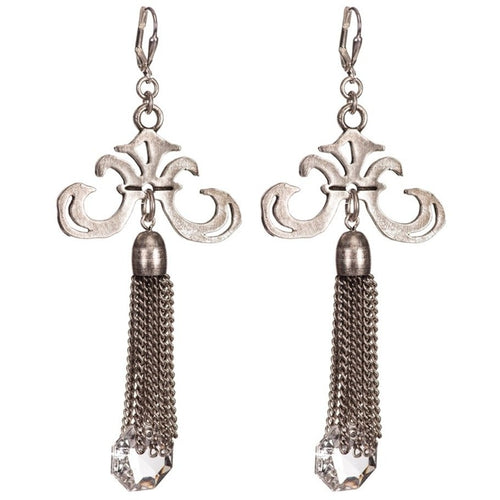 Grand Fleur Earrings with a Chandelier Crystal Tassel