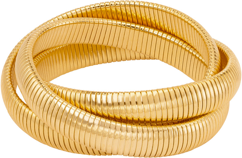 High Polished Gold Triple Cobra Bracelet