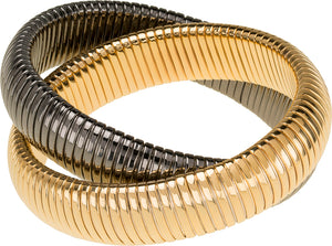 High Polished Gold And Gunmetal Double Cobra Bracelet