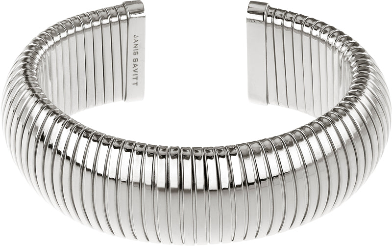 Rhodium 1/2 Round Open Back Cobra Bracelet