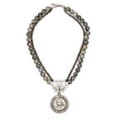 "18"" Grey Labradorite and Pyrite Necklace with Joan n' William Medallion"