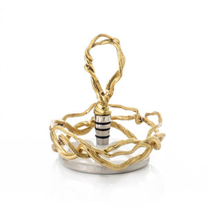 Wisteria Gold Wine Coaster and Stopper Set
