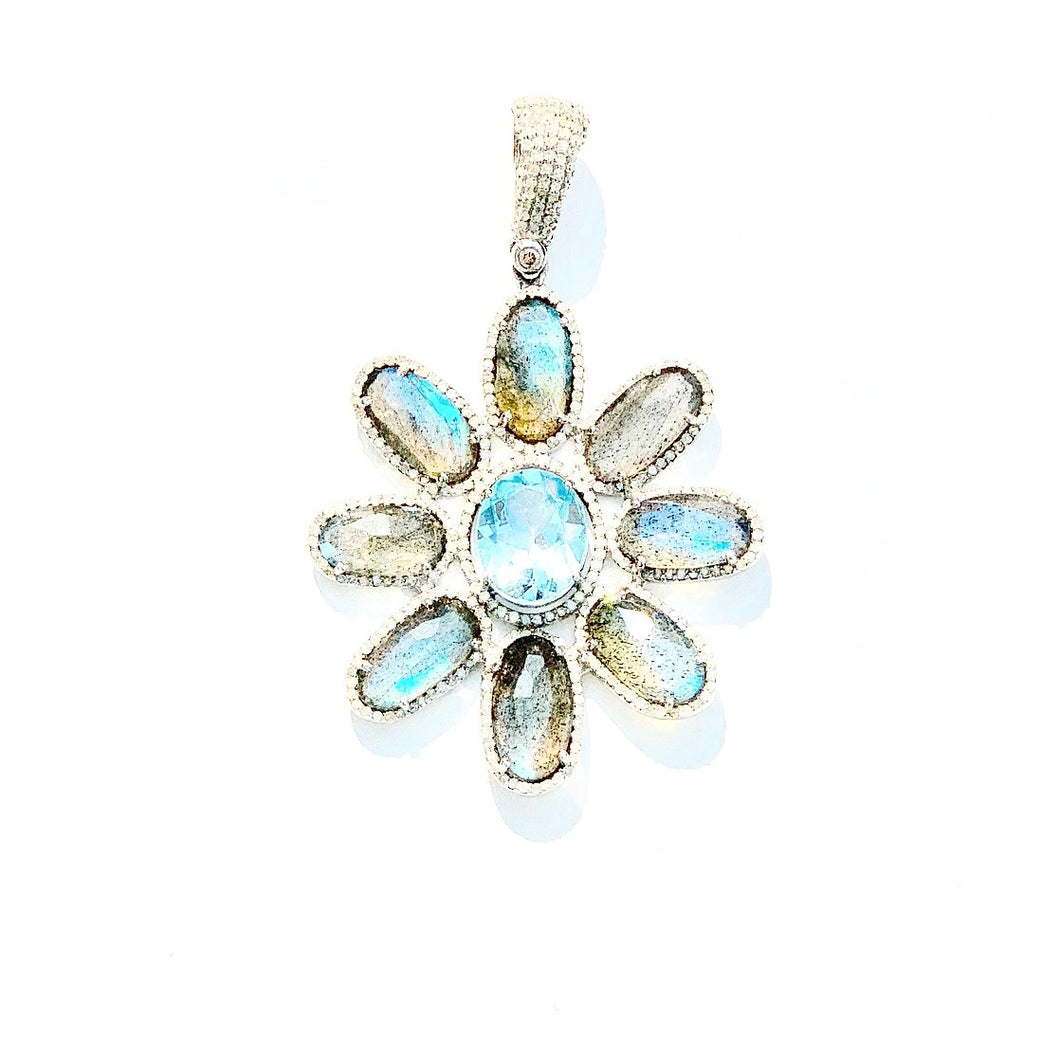 Labradorite and Blue Topaz 1.28cts Diamond Flower Enhancer