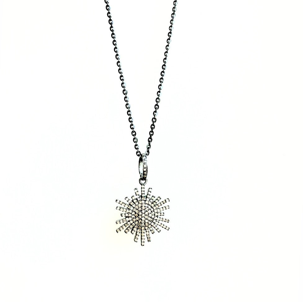 Small Pave Diamond Sunburst on Chain