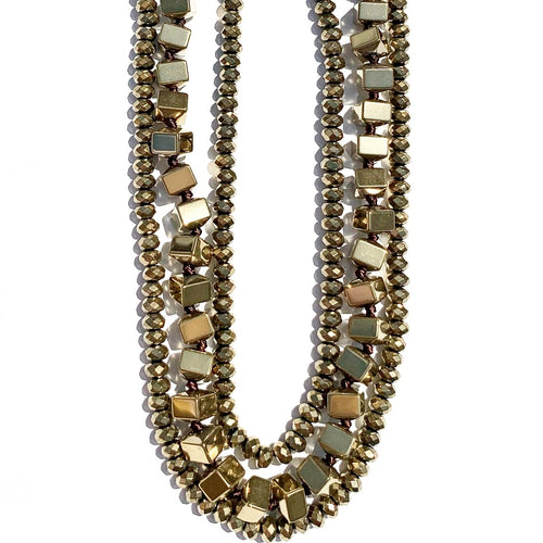 Olive Metallic Necklace Triple Strand