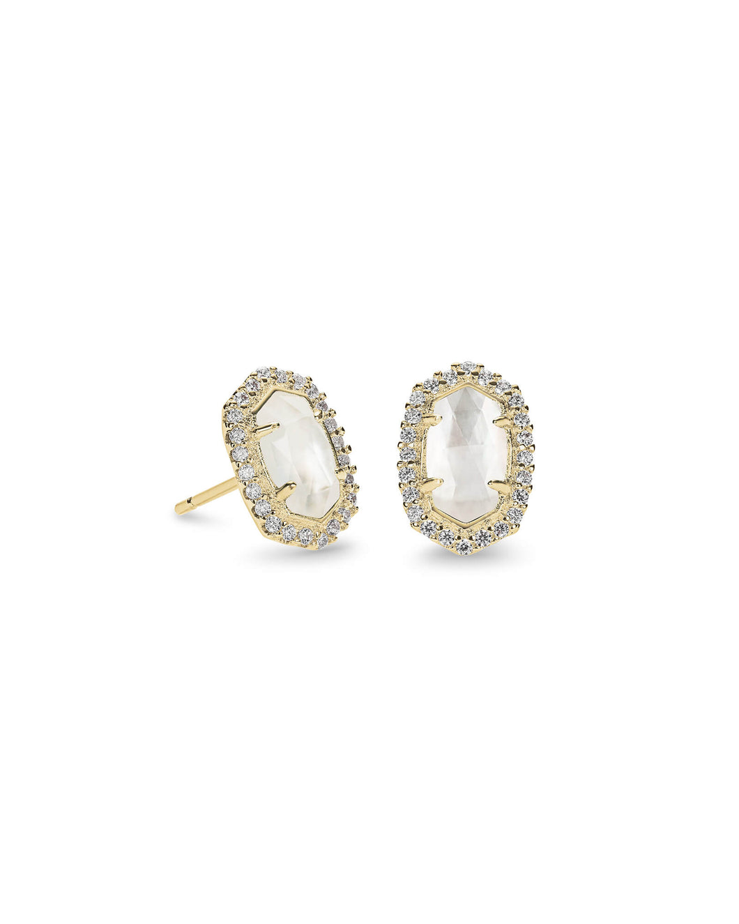 CADE EARRING GOLD IVORY MOP WHITE CZ