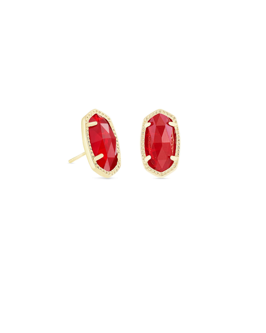 Ellie Earrings Gold Ruby Red