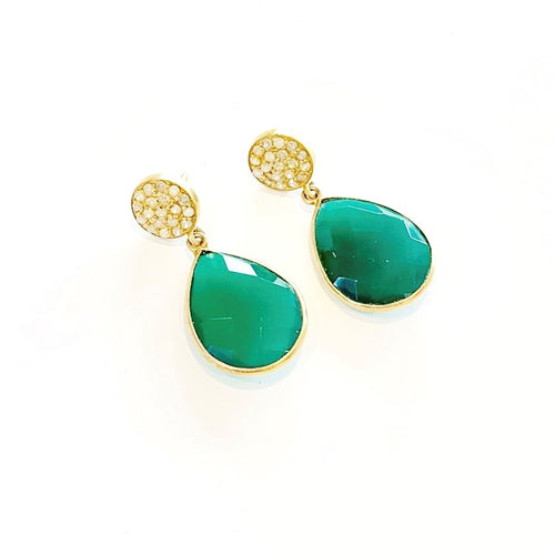 Green Onyx Tear Drop Earrings with Diamonds
