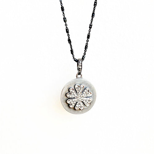 Pave Diamond Flower Disc on Chain