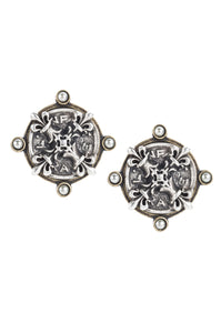 Earrings with Brass Orielle Bezel, Pearl Cabs, and Silver X Medallion