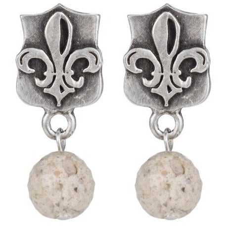 Fleur-De-Lis Earrings with African Opal Dangle