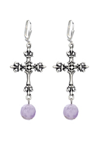 Silver Cross with Amethyst Dangle