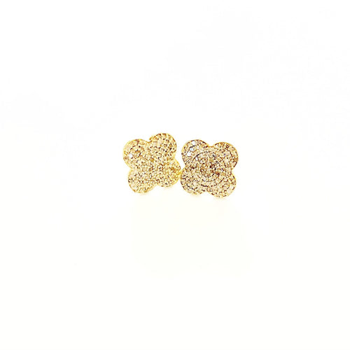 Diamond Clover Stud Gold