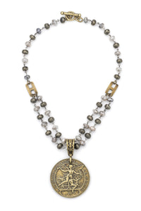 "16.5"" Double Strand Faceted Silverlite and Pyrite, Laren Medallion"