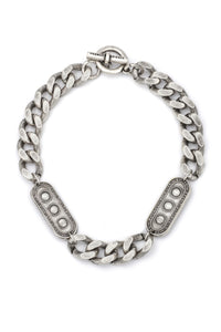 "17.5"" Silver Classic Curb Chain with Sovac Medallion"