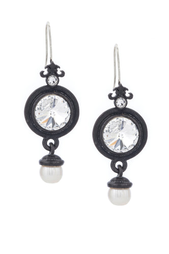Black Bezel with Swarovski Cabochon and Pearl Dangle