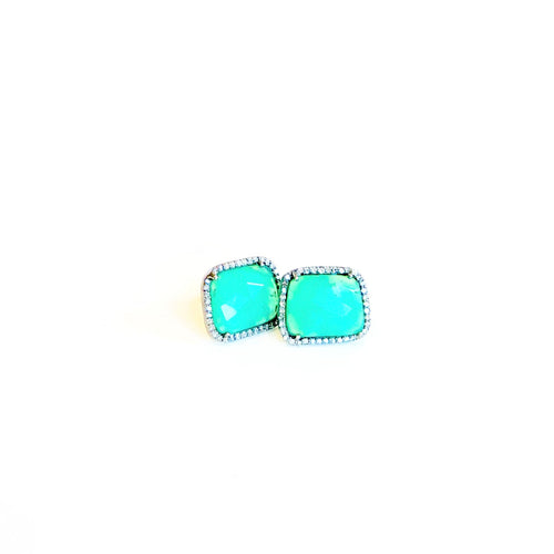 Emerald and Diamond Square Studs