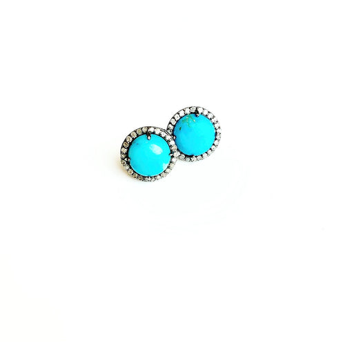 Turquoise and Diamond Studs