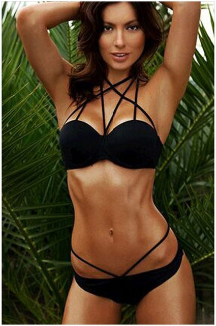 Heidi Black Halter Bikini Set Push Up Swimwear