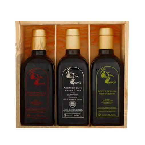 Pack of 3 oil bottles (3 varieties) of Oleo Quirós