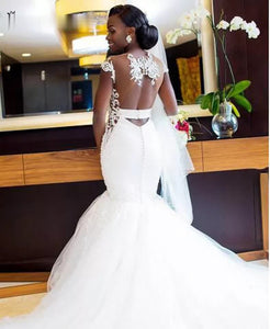 Debwol Bridal Backless Illusion Butterfly Mermaid Trumpetl Wedding Gown Dress 2019 Latest edition Back view - elegantfashionstyle.com
