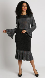 Women Sheath Black Knit Dress with Long Sleeves