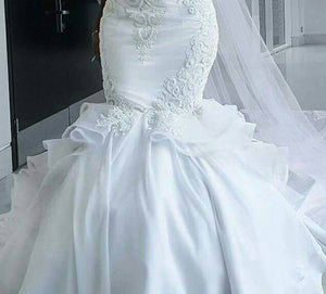 Women Bridal Dress Halter Mermaid Trumpet Wedding Gown 2019