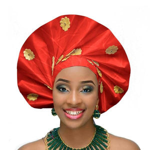 Gailis Ready To Wear Headtie African Turban headwear Ready Made Aso Oke Gele - red