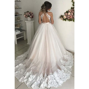 Geogette V Neck Tulle Wedding Dresses A Line Open Cross Back Applique Floor Length Sweep Train Sleeveless Bridal Dress