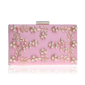 Fashion Evening Clutch Bags PU Chain Shoulder Handbags Leaf Metal Beaded Purse Messenger Bags