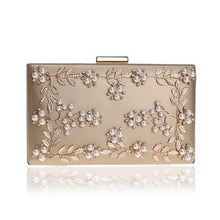 Load image into Gallery viewer, Fashion Evening Clutch Bags PU Chain Shoulder Handbags Leaf Metal Beaded Purse Messenger Bags